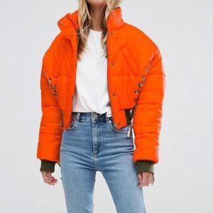 Orange Lace Bomber Jacket
